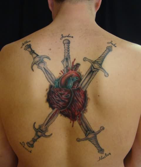 Three Swords In Heart Tattoo On Back