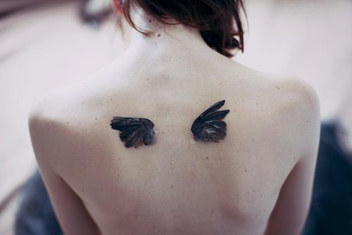 Topless Back With 3D Wings Tattoo