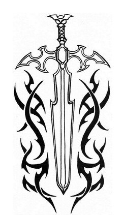 Tribal And Sword Tattoos Design