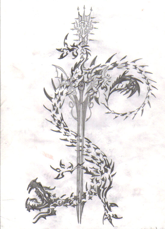 Tribal Dragon And Long Grey Sword Tattoos Sketch