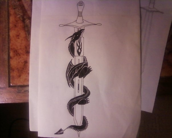 Tribal Dragon And Sword Tattoo Design