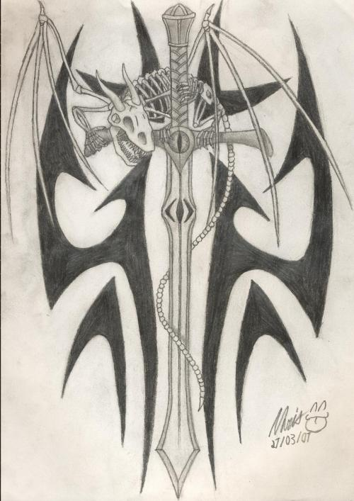 Tribal Dragon And Sword Tattoo Designs