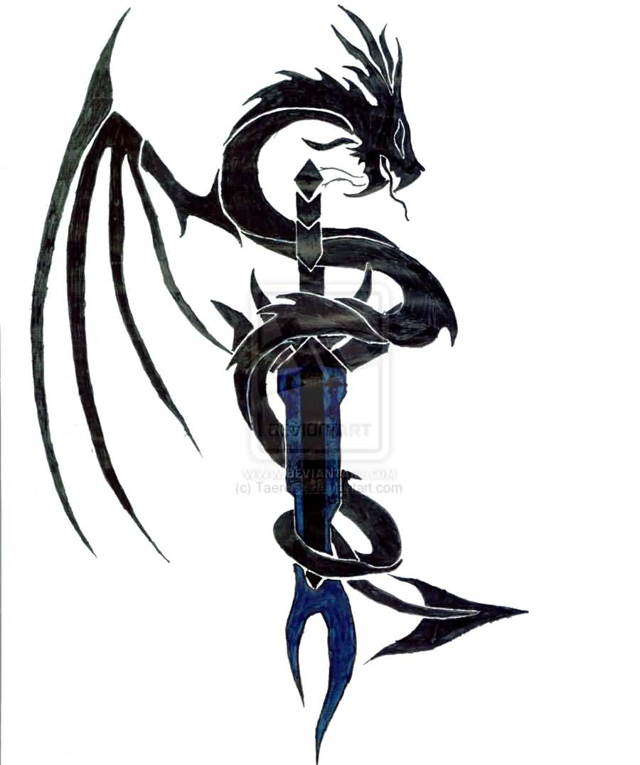 Tribal Dragon Around Sword Tattoo Model