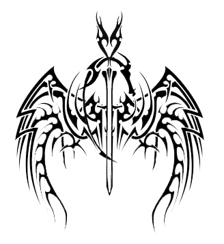 Tribal Dragon Sword And Wings Tattoo Stencil
