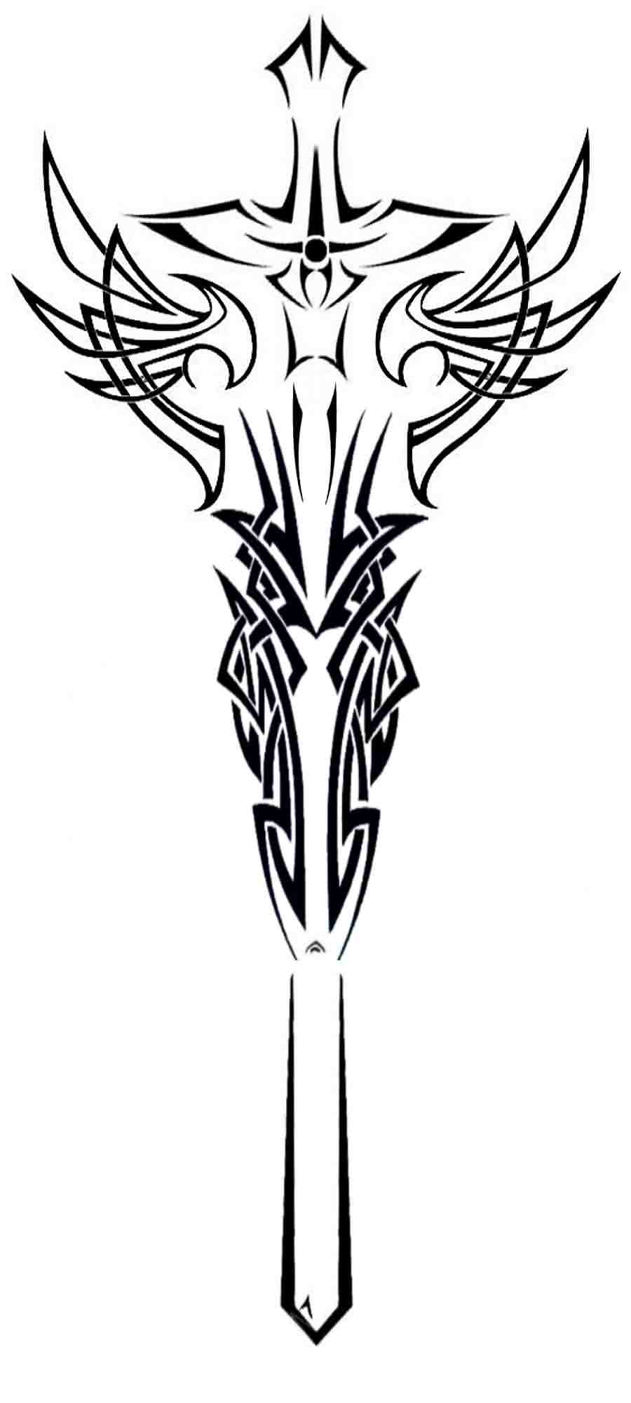 Tribal Dragons And Long Sword Tattoo Designs
