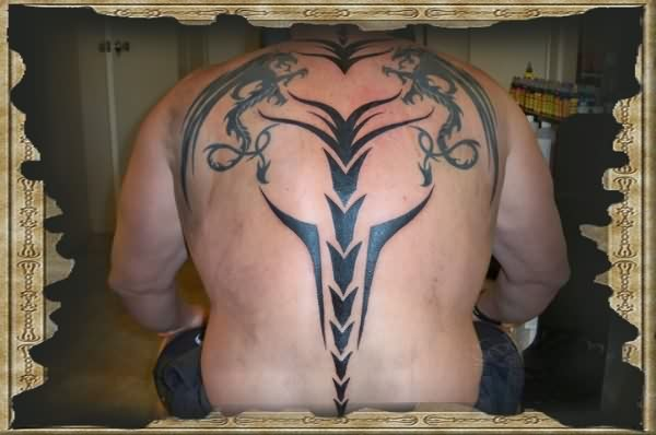 Tribal Dragons And Sword Tattoos On Back