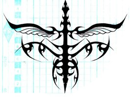 Tribal Flying Sword Tattoo Design