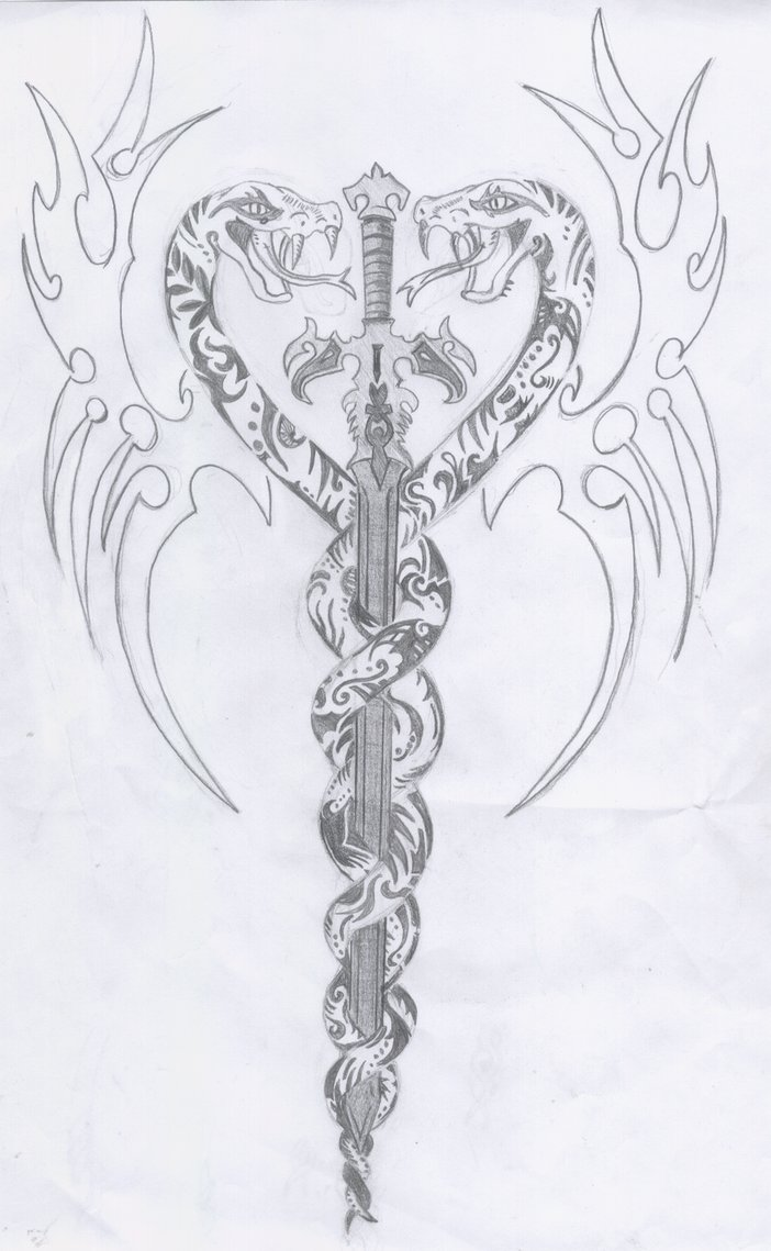 Tribal Snakes And Sword Tattoos Sketch