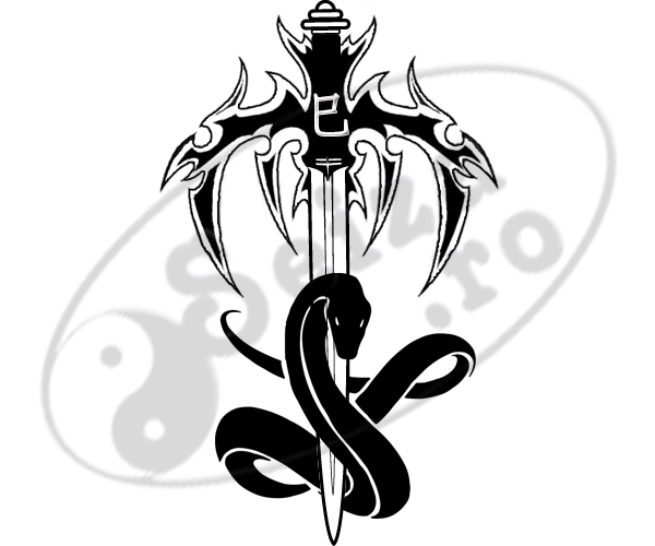 Tribal Sword And Black Snake Tattoo Designs