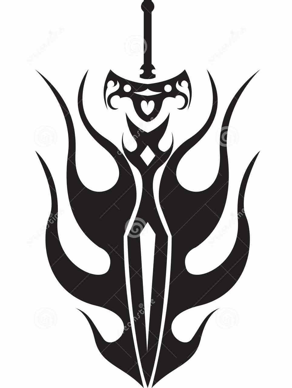 Tribal Sword And Flames Tattoo Designs