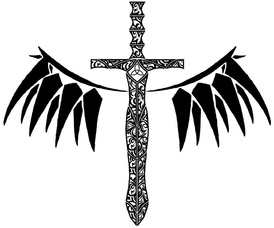 Tribal Sword And Wings Tattoo Design