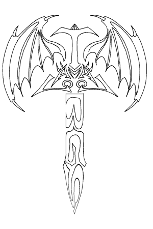Tribal Sword And Wings Tattoo Sample