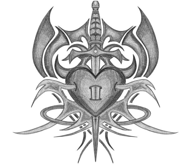 Tribal Sword In Heart Tattoo Drawing