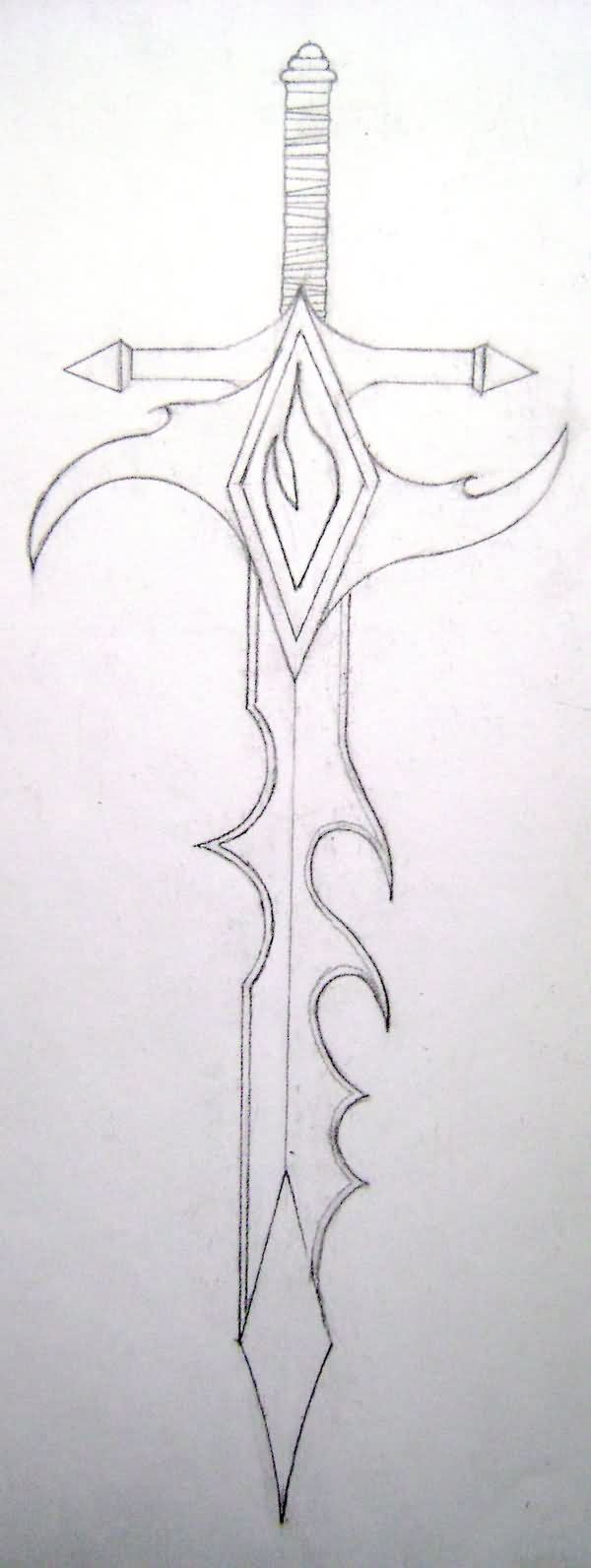 Tribal Sword Tattoo Drawing