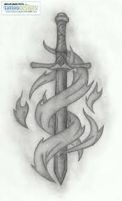 Tribal Sword Tattoo Sketch