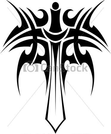 Tribal Sword Tattoo Stencil