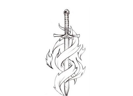 Tribal Sword Tattoo Version
