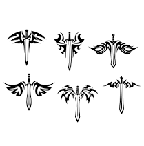 Tribal Sword Tattoos Set