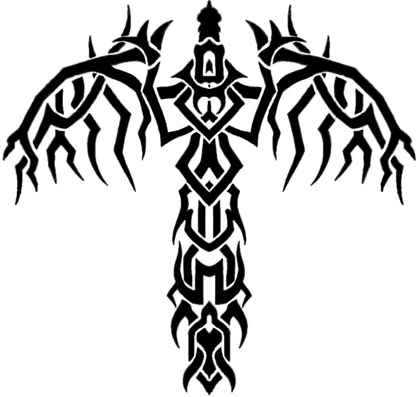 Tribal Sword Wings Tattoo Model