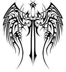 Tribal Sword With Wings Tattoo Model