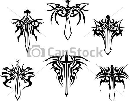 Tribal Winged Sword Tattoo Designs