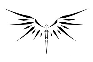 Tribal Winged Sword Tattoo Model