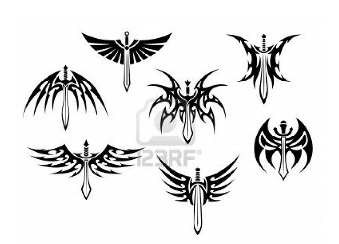 Tribal Winged Sword Tattoos Pack