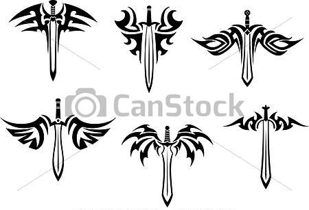 Tribal Winged Sword Tattoos Set