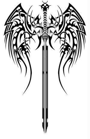 Tribal Wings Sword Tattoo Version