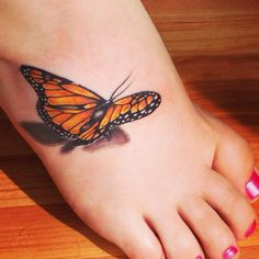 Truly Amazing 3D Butterfly Tattoo On Foot