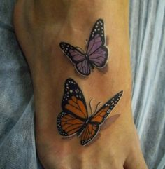 Two Awesome 3D Butterflies Tattoos On Foot