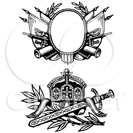 Two Medieval Sword And Shield Tattoo Designs