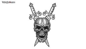 Two Swords And Grey Skull Tattoo Designs