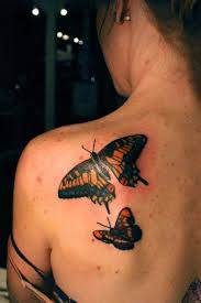 Two Wonderful 3D Butterflies Tattoos On Left Back Shoulder