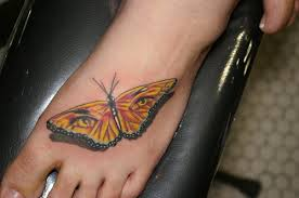 Unforgettable 3D Eyes Butterfly Tattoo On Foot