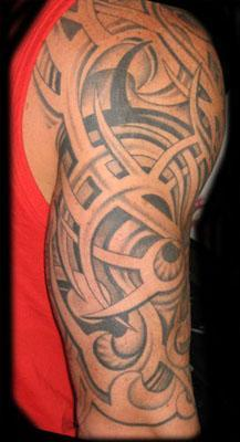 Unforgettable 3D Tribal Tattoos On Half Sleeve