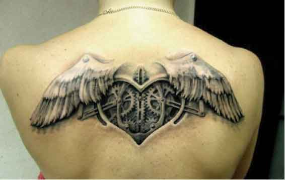 Unforgettable Grey 3D Heart With Wings Tattoo On Upperback