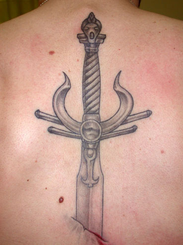 Unforgettable Grey Sword Tattoo On Back