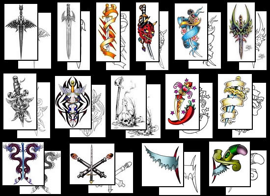 Various Colorful Sword Tattoo Designs
