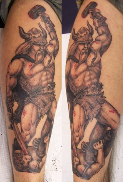 Viking With Sword Tattoos On Sleeve