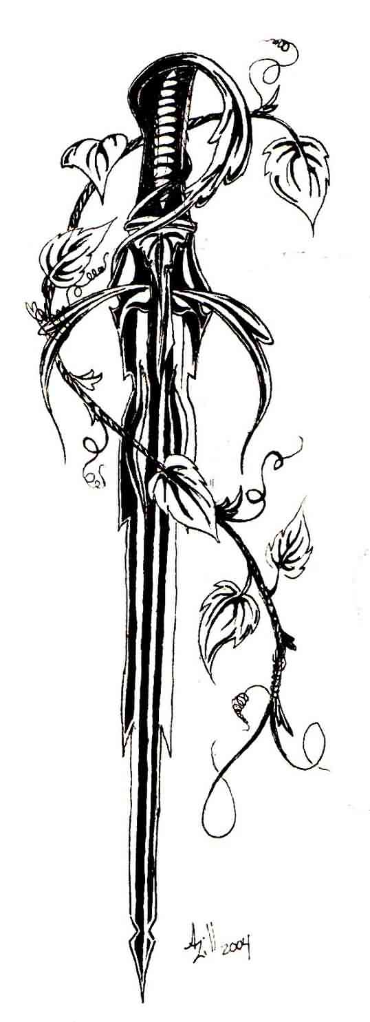 Vine And Sword Tattoo Designs