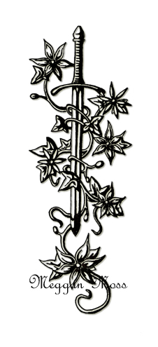Vine Around Sword Tattoo Design