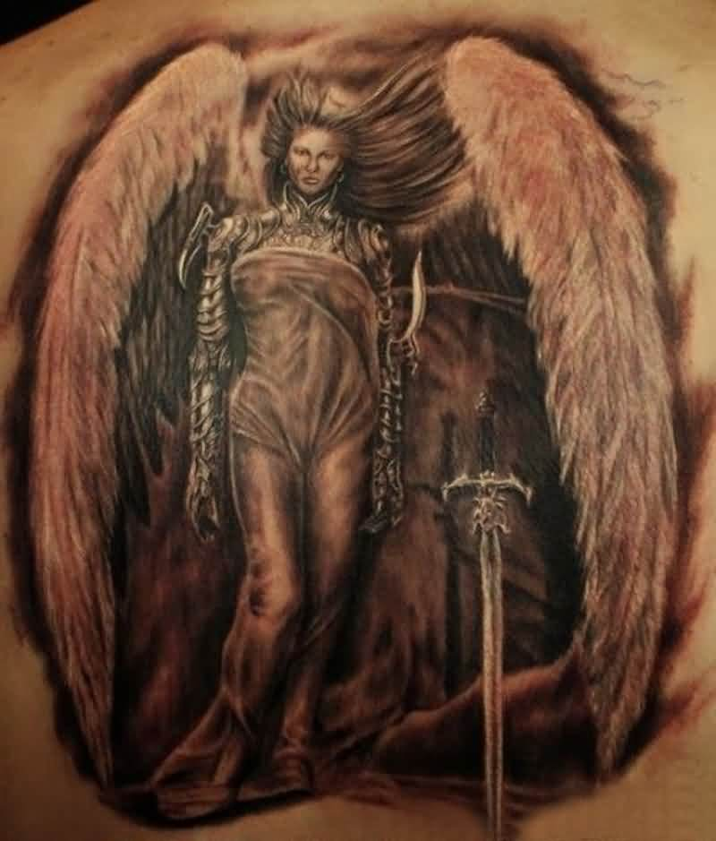Warlike Woman Angel With Sword Tattoo
