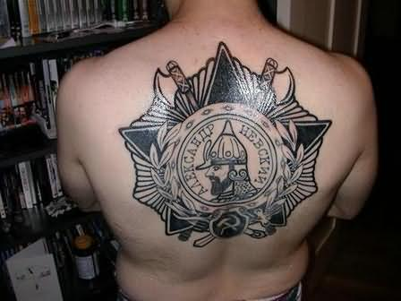 Warrior Shield And Sword Tattoos On Backbody