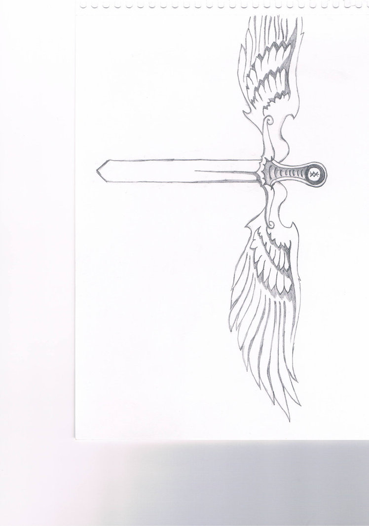 Warrior Sword With Wings Tattoo Sketch