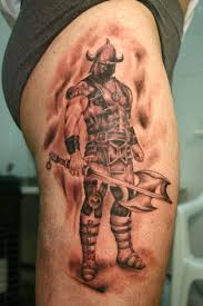 Warrior With Sword And Axe Tattoos