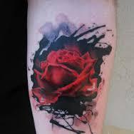 Watercolor 3D Red Rose Tattoo On Arm