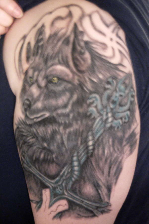 Werewolf Sword Tattoo On Half Sleeve