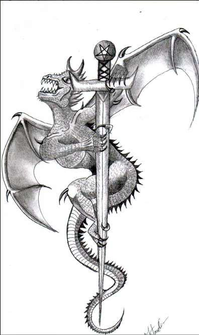 Wicked Dragon On Sharp Sword Tattoo Design