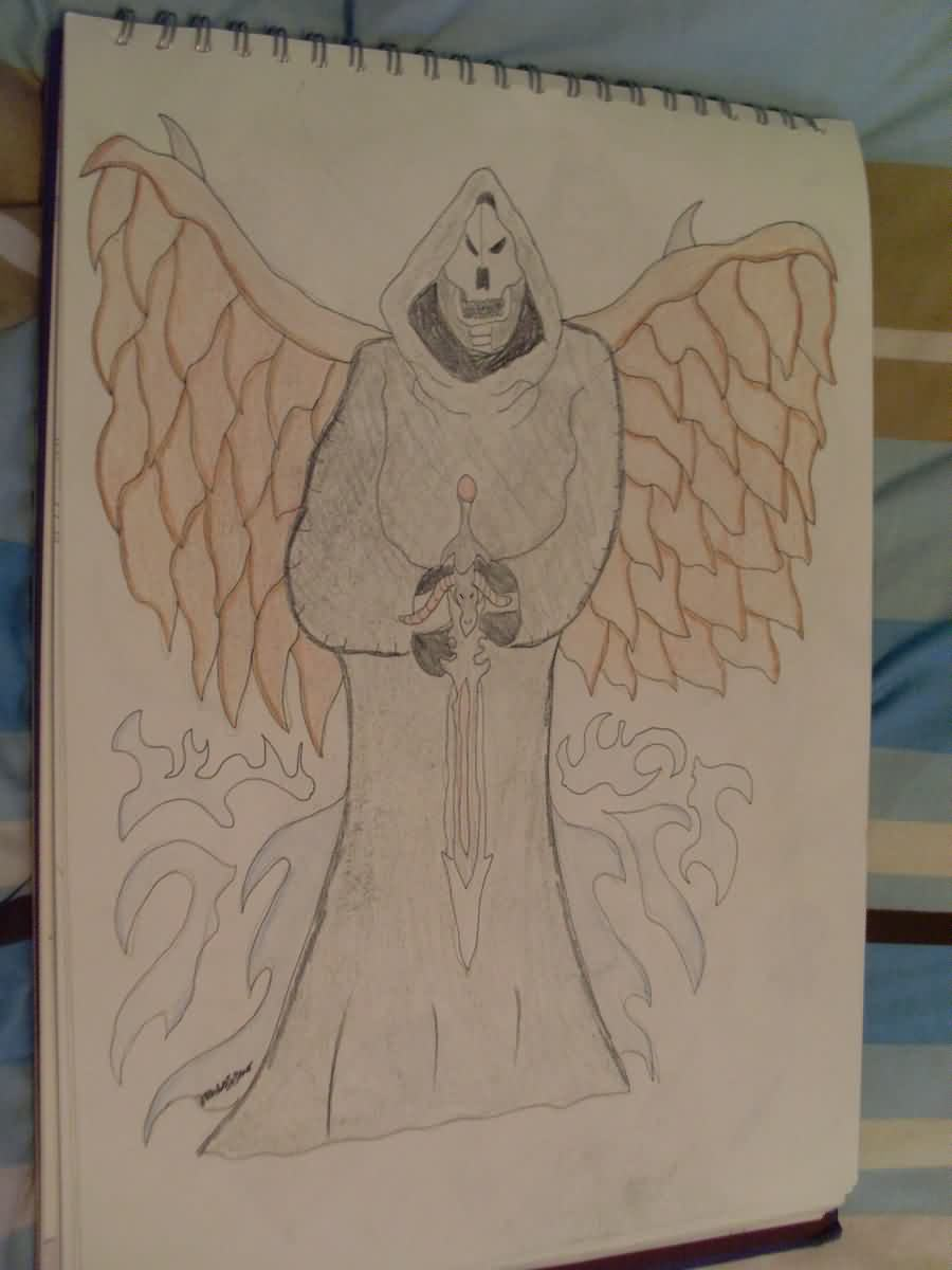 Winged Death With Sword Tattoo Sketch